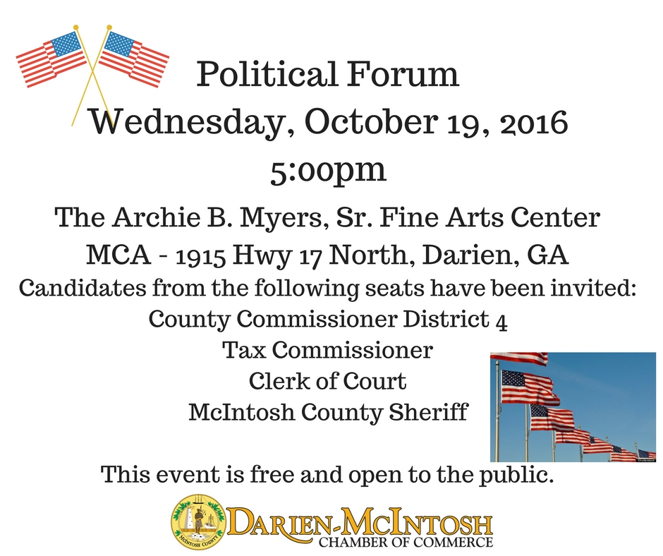 Political Forum @ Archie B. Myer's, Sr. Fine Arts Center | Darien | Georgia | United States