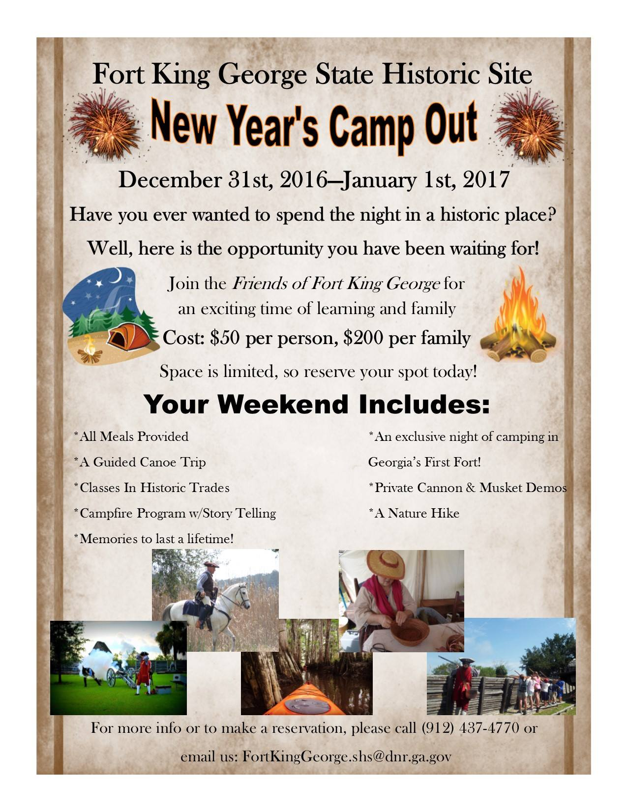 Fort King George Historic Sites New Year Camp Out